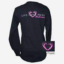 Ladies Black LS Live Love Hunt Tshirt 1411551148