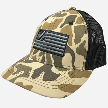 Old Camo Pattern Cap with American Flag 1211551237