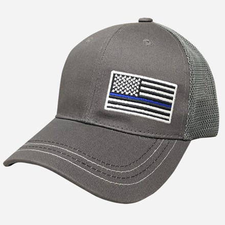 Gray American Flag (blue line) with gray mesh cap 1211551235